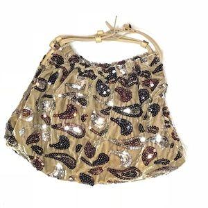 Velvet Paisley Sequence Handbag
